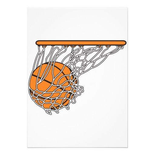 basketball woosh ball in net vector illustration personalized invitation