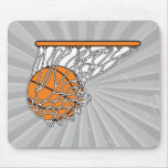 basketball woosh ball in net vector illustration mousepads
