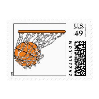 basketball woosh ball in net vector illustration postage