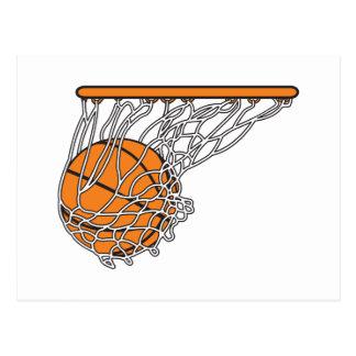 basketball woosh ball in net vector illustration postcard