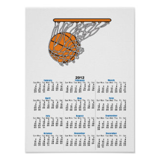 basketball woosh ball in net vector illustration poster