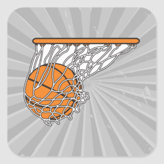 basketball woosh ball in net vector illustration square sticker