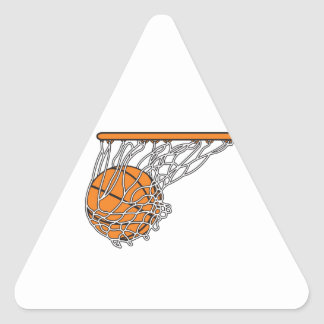 basketball woosh ball in net vector illustration triangle sticker