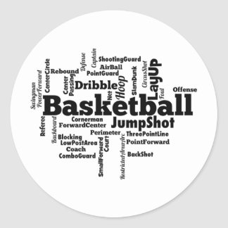 Basketball Word Cloud Classic Round Sticker
