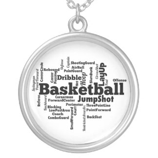 Basketball Word Cloud Silver Plated Necklace