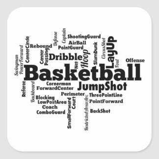 Basketball Word Cloud Square Sticker