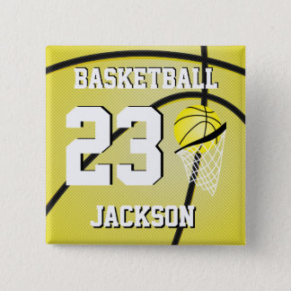 Basketball Yellow and White | Personalize Button