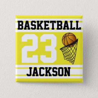 Basketball Yellow & White Stripes | DIY Text Button