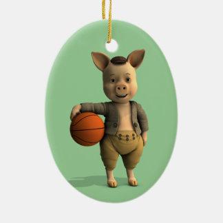 Basketballer Piglet Ceramic Ornament
