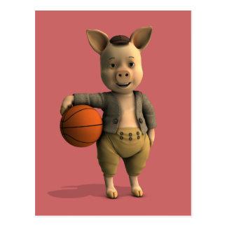Basketballer Piglet Postcard
