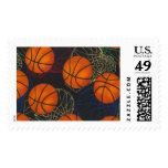 Basketballs and Hoops on a Blue Background Stamp