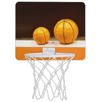 Basketballs are on black background mini basketball hoop