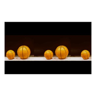 Basketballs are on black background poster