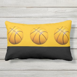 Basketballs are on orange background lumbar pillow