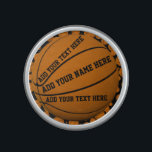 """Basketballs Bluetooth Speaker<br><div class=""""desc"""">Multiple basketballs on a customizable black background and one basketball where you can add your text.   Note: You can change the background colour through customising.</div>"""