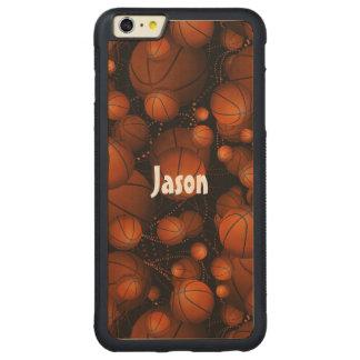 Basketballs everywhere pattern name orange black carved® maple iPhone 6 plus bumper
