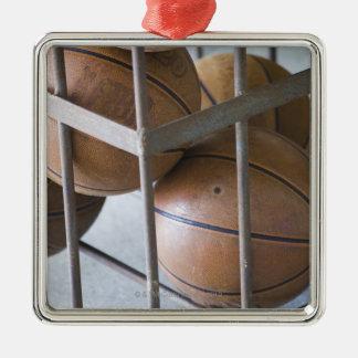 Basketballs in a basket metal ornament