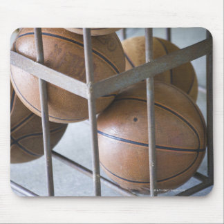 Basketballs in a basket mouse pad