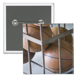 Basketballs in a basket pinback button