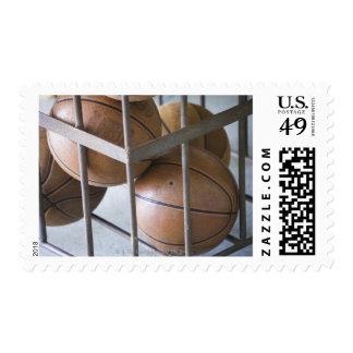 Basketballs in a basket postage