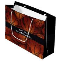 Basketballs on Flannel Large Gift Bag