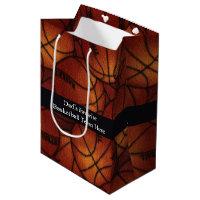 Basketballs on Flannel Medium Gift Bag