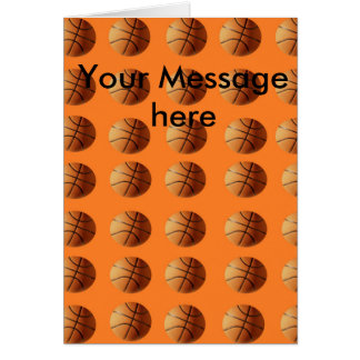 Basketballs_On_Orange,_Add_Your_Text_Note_Card Card