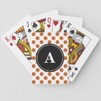 Basketballs on White Pattern Monogram Playing Cards