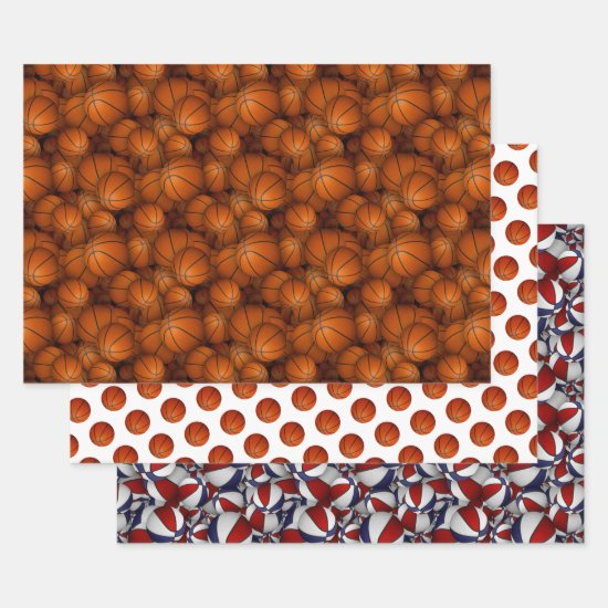 basketballs pattern any occasion wrapping paper sheets