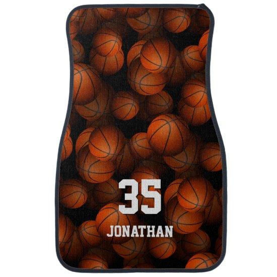 Basketballs pattern boys girls personalized car floor mat