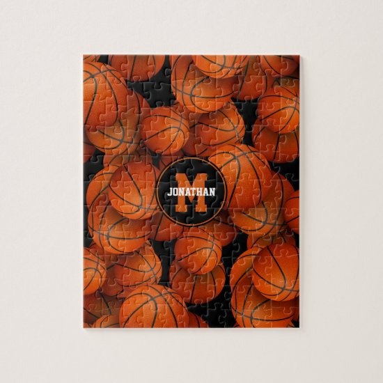 Basketballs pattern boys girls personalized jigsaw puzzle