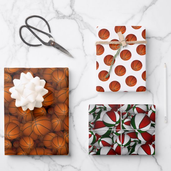 basketballs pattern Christmas or any occasion Wrapping Paper Sheets
