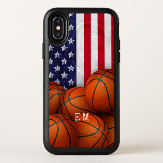 basketballs with American flag custom monogrammed OtterBox Symmetry iPhone X Case