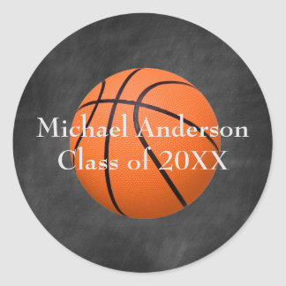 Basketbball on Chalkboard - Graduation Sticker