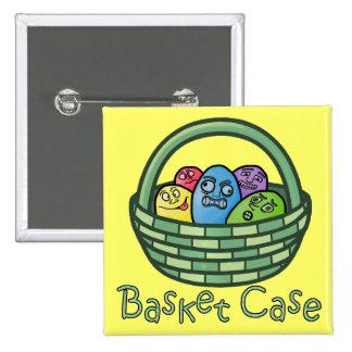Basketcase divertido Pascua Pin Cuadrada 5 Cm