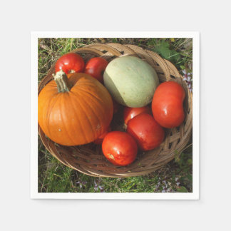Basketful of Fruits and Vegetables-Thanksgiving Napkin
