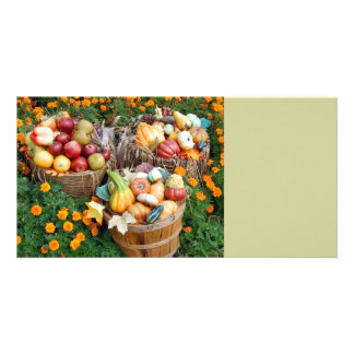 Baskets of Autumn Fruit and Vegetables Card