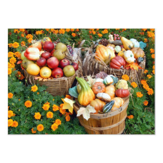 Baskets of Autumn Fruit and Vegetables 4.5x6.25 Paper Invitation Card