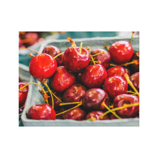 Baskets of Fresh Cherries at The Farmers Market Canvas Print