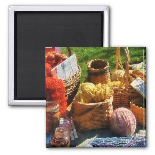 Baskets of Yarn at Flea Market 2 Inch Square Magnet