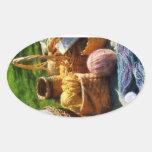 Baskets of Yarn at Flea Market Oval Stickers