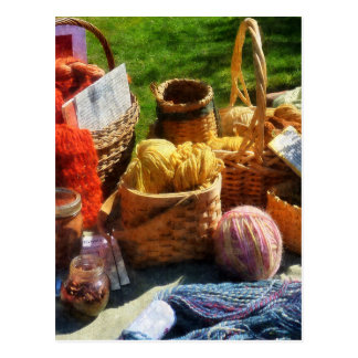 Baskets of Yarn at Flea Market Postcard