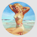 Basking on the Beach Pin Up Classic Round Sticker