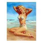 Basking on the Beach Pin Up Postcard