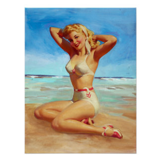 Basking on the Beach Pin Up Poster