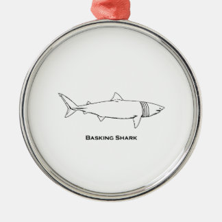 Basking Shark Illustration (line art) Metal Ornament