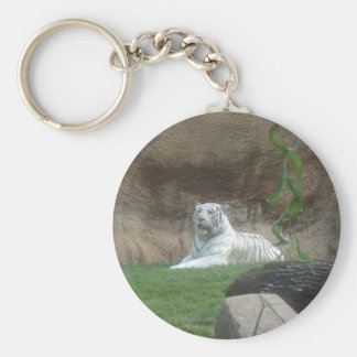Basking White Tiger Keychain