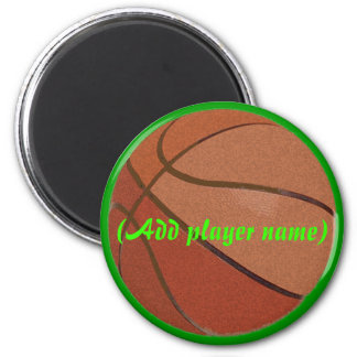 basktball, (Add player name) 2 Inch Round Magnet