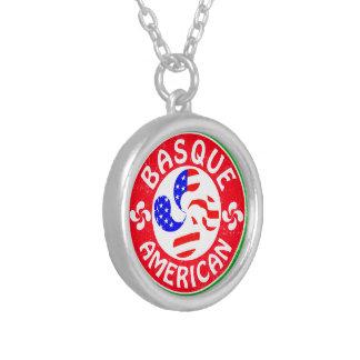Basque American Euskara Lauburu Cross Silver Plated Necklace