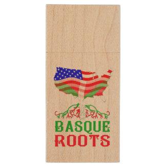 Basque American Roots USB Flash Drive Memory Stick Wood USB 3.0 Flash Drive